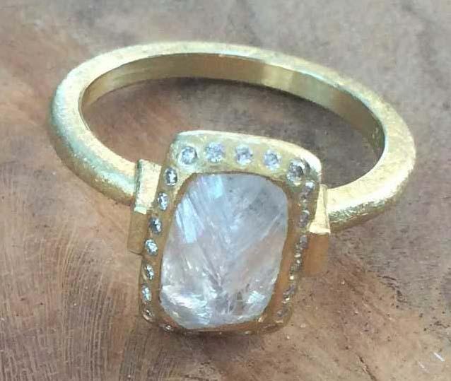 Uncut Black Diamond Ring