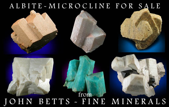 Crystallized Microcline, Orthoclase, Albite, and other Feldspars For